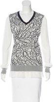 Prabal Gurung Jacquard Silk-Trimmed Sweater
