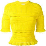 3.1 Phillip Lim knitted lace-detail top - women - Nylon/Polyester/Spandex/Elastane/Viscose - S