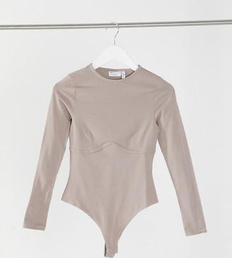 ASOS DESIGN Petite long sleeve bodysuit with underbust seam in mushroom