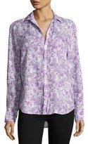 Frank And Eileen Eileen Floral-Print Shirt, Purple/Green