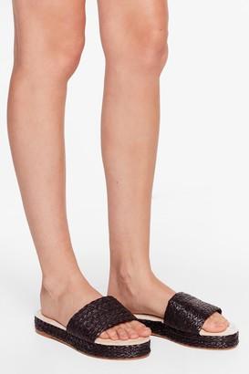 Nasty Gal Womens Straw the Line Woven Platform Sandals - Black - 5, Black