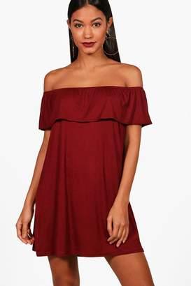 boohoo Off The Shoulder Jersey Swing Dress