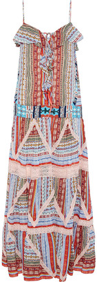 Etro Lace-up Bead-embellished Printed Silk-gauze Maxi Dress
