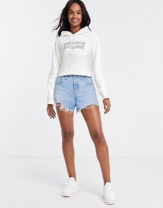 Levi's graphic crop hoodie in white
