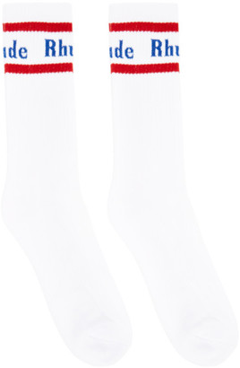 Rhude White and Red Vintage Logo Socks
