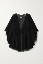Charo Ruiz Ibiza Indya Crocheted Lace-paneled Cotton-blend Voile Kaftan - Black
