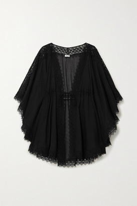 Charo Ruiz Ibiza Indya Crocheted Lace-paneled Cotton-blend Voile Kaftan - Black