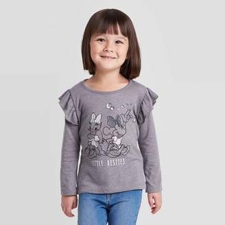 Mickey Mouse & Friends Toddler Girls' Disney Minnie and Daisy Little Besties Long Sleeve T-Shirt - Gray