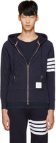 Thom Browne Navy Zip-Up Hoodie