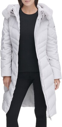 Karl Lagerfeld Paris Water Resistant Down & Feather Puffer Coat with Faux Fur Trim Hood