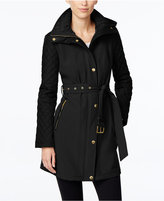 MICHAEL Michael Kors Faux-Leather-Trim Quilted-Sleeve Jacket