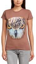 Printed Wardrobe Women's Big Face Animal Owl Crew Neck Short Sleeve T-Shirt,(Manufacturer Size:X-Large)