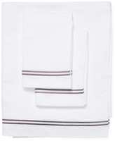 Melange Home Two-Stripe Embroidered Cotton Sheet Set