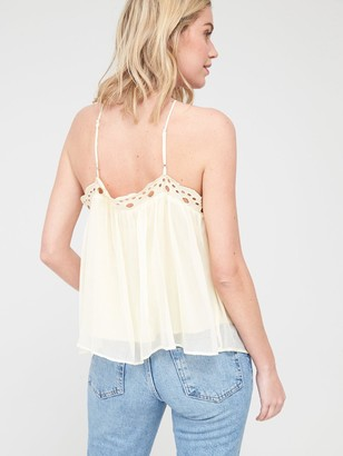 Very Embroidered Cross Back Cami - White