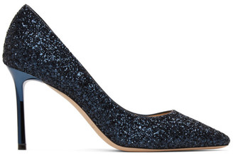 Jimmy Choo SSENSE Exclusive Navy Coarse Glitter Romy 85 Heels