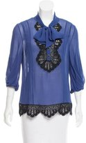 Temperley London Silk Lace-Trimmed Top w/ Tags