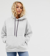 Weekday hoodie in gray with purple drawstring