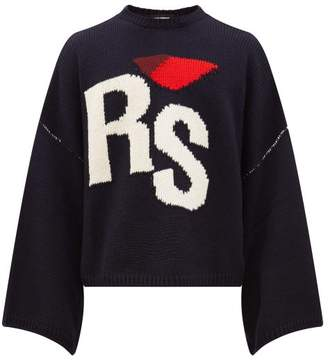 Raf Simons Rs Intarsia Oversized Cropped Wool Sweater - Mens - Navy