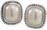 Carolee Silver-Tone Large Imitation Pearl Stud Earrings
