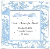 The Well Appointed House Personalized Birth Announcement Decoupage Plate in Blue Toile with Polka Dots-Available in a Variety of Sizes
