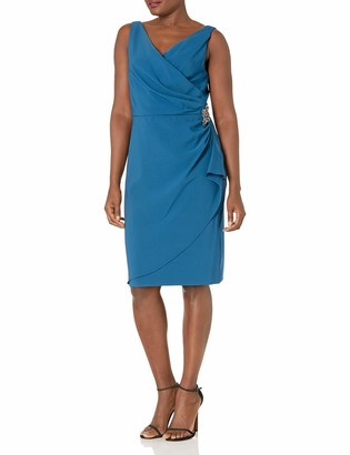 SL Fashions Women's Slimming Short Ruched Dress with Ruffle (Petite and Regular)