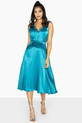 Little Mistress Lulu Satin Slip Lace Trim Dress