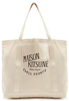 MAISON KITSUNÉ Logo-print cotton-canvas tote