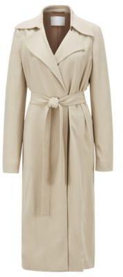 HUGO BOSS Wrap Front Coat With Tie Belt - Beige