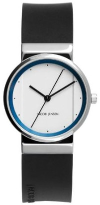 Jacob Jensen Womens Analogue Quartz Watch with Rubber Strap 760