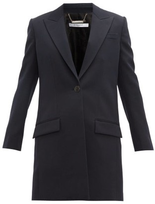 Givenchy Single-breasted Wool Coat - Womens - Navy