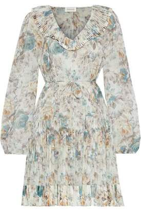 Zimmermann Fleeting Folds Pleated Floral-print Chiffon Mini Dress