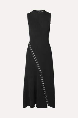 Alexander McQueen Asymmetric Eyelet-embellished Ribbed Stretch-knit Midi Dress - Black