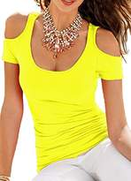 Foxexy Women's Casual Loose Sexy Cut out Shoulder Tee Shirt Tops Club Blouse XL