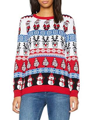 British Christmas Jumpers Women's Comic Crazy Christmas Jumper Red, (Size: X-Large)