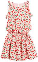 Fendi Cherry-Print Sleeveless Ruffle Dress, Size 6-8