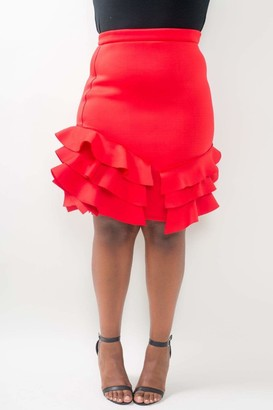 Couture Buxom Pencil Skirt w/ Side Ruffles in Black Size 1X
