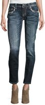 Miss Me Skinny Embroidered Denim Jeans, Dark Wash 413