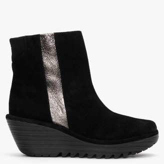 Fly London Yulu Black Suede Metallic Stripe Wedge Ankle Boots