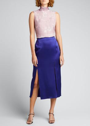 Jason Wu Collection Crepe Satin Midi Skirt w/ Front Slits