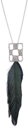 Alexis Bittar Pave Checkerboard Feather Pendant Necklace