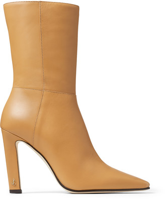 Jimmy Choo MERLE 100 Butter Rum Soft Calf Leather Block Heel Ankle Boots