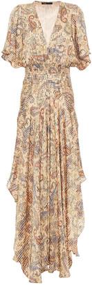 Maje Rachel Asymmetric Printed Satin-jacquard Maxi Dress