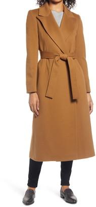 Fleurette 48 Peak Lapel Wrap Wool Coat