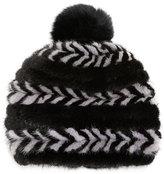 Surell Mink Fur Beanie, Black/Gray