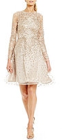 David Meister Metallic Embroidered Overlay Fit & Flare Dress