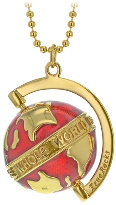 True Rocks Spinning Globe Necklace In Red Enamel & 18Kt Gold Plate The Whole World Revolves Around Love