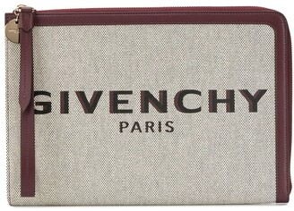 Givenchy Logo Print Zipped Clutch
