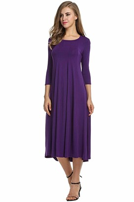 opdamyi Women's Basic Casual Loose Midi Dress Round Neck Sleeved Solid Color Dress Purple