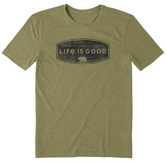 Life is Good Positive Lifestyle Bear Cool Tee (Fatigue Green) Men's Clothing