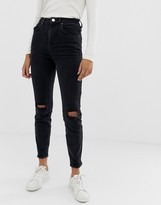 Asos DESIGN Farleigh high waisted slim mom jeans in washed black with busted knees